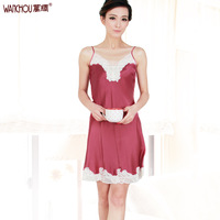 Silk heavy silk nightgown sleepwear lounge female mulberry silk laciness sexy suspender skirt 1218b