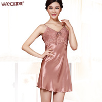 Silk heavy silk nightgown sleepwear lounge female mulberry silk laciness sexy suspender skirt 1216b