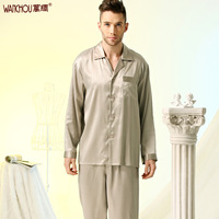 Silk  sleep set lounge quality male spring and autumn mulberry silk long sleeve length pants 367