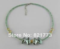 40+5cm green aventurine Austria crystal necklace