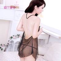 Ultra-thin transparent lace spaghetti strap sleep set sexy nightgown twinset female temptation underwear