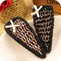 Free Shipping! Min. Order 10USD(Can Mixed Order)   Fashion Anthoxanthin Beaded Bow Crystal  Side-knotted Clip Hair Accessory