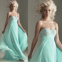 2014Fashion blue evening dress long design  With sequins long wedding dress