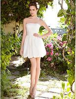 Listen ! Smelling... Yesterday Once M......A-line Strapless Short Mini Satin Wedding Dress