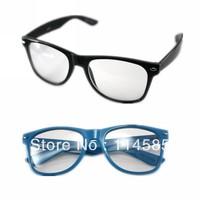 20pcs\lot-Top Quality-Brand New 2140 classic vintage male female women's black plain mirror eyeglasses frame black blue myopia