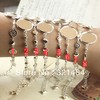Wholesale 100pcs Silver Plated Metal Fashion Bracelet 18mm Blank Cameo Cabochon Base with Lobster clasp Extender Chain Findings