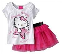 Summer  Girl's Hello Kitty T-shirt +  Short Skirt /Kids Clothings   Free Shipping