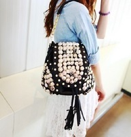 2012 women's handbag bucket bag button tassel bag rhinestone backpack one shoulder cross-body bag with three lada