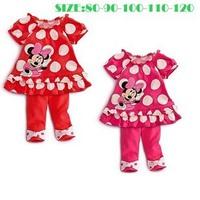 Girl's Summer Casual Mickey Mouse Sets , Dot shirt + pants Free Shipping