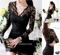 freeshipping 2014 lace v neck solid ladies' sexy& club empire mini dresses