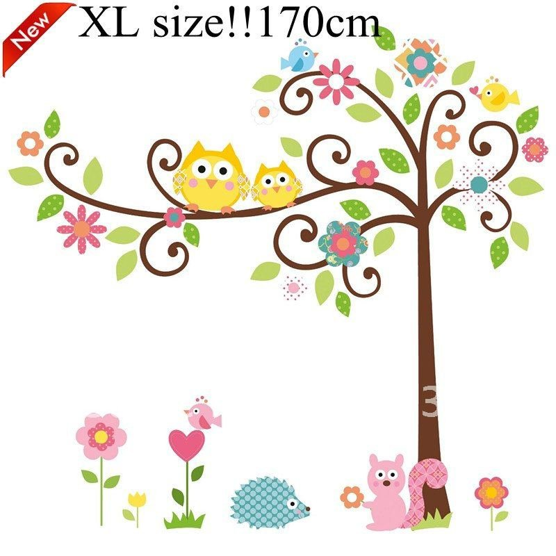 owl tree peel stick wall decal kindergarten 40 42in 100 105cm wall