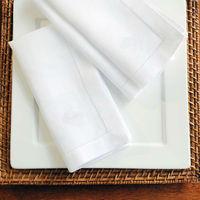 "set of 12 ,Natural PolyCotton White Hemstitch Napkins, 40x40cm(15.8X15.8"")"