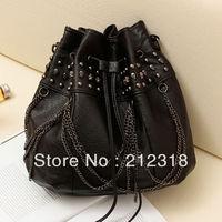 2013 new leisure bag pu fashion handbag skull fringed bag wild rivets bucket bag handbag Ladies' bag