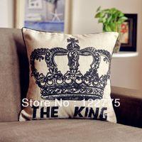 45x45cm Vintage The King Linen Throw Pillow Case Cushion Cover Pillow Sham