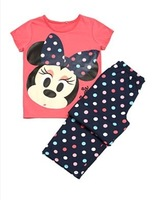 2013 new children kids pajamas sleepwear clothes sets cotton minnie mouse cartoon pajama girls boys clothing set free shipping