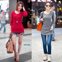 New arrival 2013 rh o-neck long-sleeve finger cots slim elastic basic shirt t-shirt female