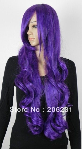 Hot Sale Fashionable Costume Hairstyle Long wavy 29inch Shining Purple Wig 10pcs/lot Free shipping(China (Mainland))