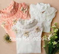 Girls bottoming shirt lace flower princess inside the T-shirt