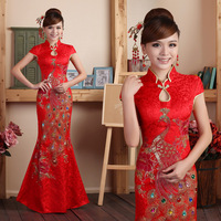 Red fish tail wedding dress cheongsam toadyisms married formal dress the bride cheongsam bride dress evening dress