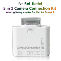 5 in1 Camera Connection Kit for Apple iPad download the photos from digital camera SDHC card reader Free shipping