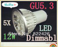 5pieces/lot 12W 220V CREE GU5.3 High Power LED Lamp, AC85-265V,warm/cool white led spot lighting FREE SHIPPING