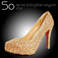 Rhinestone gold high heels single shoes genuine leather platform bride champagne color crystal shoes wedding shoes female 2014