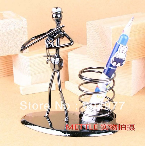 The violin band spring iron pen container office furnishing articles, arts and crafts gifts free shipping(China (Mainland))