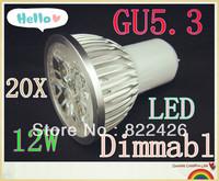 20pieces/lot 12W 220V CREE GU5.3 High Power LED Lamp, AC85-265V,warm/cool white led spot lighting FREE SHIPPING