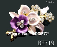 Wholesale hot sale painting zinc alloy rhinestone flower girl brooch fashion jewelry Free shipping 12pcs lot mixed color  BH719