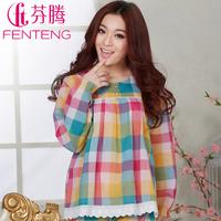 Sleepwear  spring women's sweet plaid woven cotton lounge set m802 free shipping