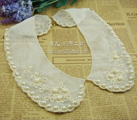 Handmade clothes accessories lace cravat false collar laciness gold thread embroidery double layer net pearl