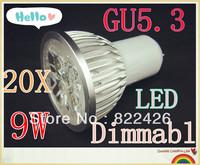 20pcs/lot High power CREE GU5.3 3x3W 9W 110V 220V Dimmable led Light led lamp led Bulb Downlight Warm/Pure/Cool White