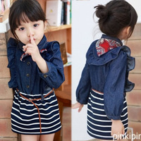 Free shipping 2014 spring children's clothing ruffle stripe denim patchwork baby female child long-sleeve dress