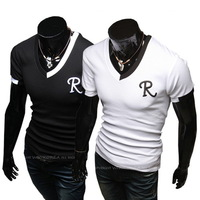 Summer new fashion casual mens T-shirt city boy round collar short sleeve Tshirt