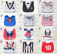 Baby Tuxedo Gentleman Feeding Bibs Baby Kids Waterproof Superman Pinny/Burp Cloths Designs 3 layers cotton 20pcs/lot