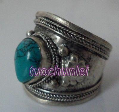 Tribal Ethnic Nepal Silver Turquoise jewelry ring 8-9#(China (Mainland))