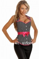 Dazzling Alluring Rockabilly Belted Halter corset polka dot with Free shipping
