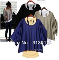 S-XXL Free shipping Plus size women's Bat sleeve loose big yards fashion short-sleeved T-shirt +vest # N019