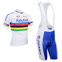 2013 rabobank UCI WHITE Unisex new Styles Free Shipping Hot bike bicycle clothing Team cycling Jersey&Bib Short D2080