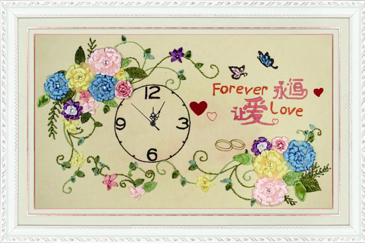 Ribbon embroidery clock new arrival eternal j888012 handicrafts(China (Mainland))