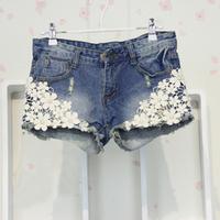 Fashion Korean Style Sweet Lace Embellished Denim Shorts Blue , Fashion Women's Shorts Free Shipping