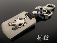 Free shipping Car peugeot keychain genuine leather alloy key chain double faced emblem keychain accessories