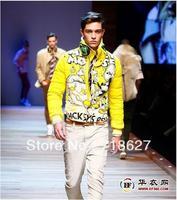 Free shipping -2013 catwalk models detachable rabbit fur collar double-sided classic Mickey pattern men's short down jacket