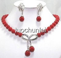 beautiful red Coral Beads pendant necklace earring Jewelry set