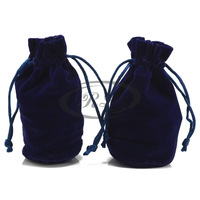 Wire round straight flannelet bag push-up pouch packaging bag velvet jewelry bags navy blue