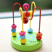 Free shipping Puzzle wooden Small around the bead mini beaded children toy 0.15