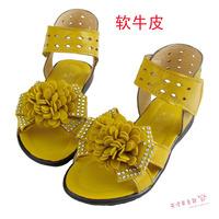Rangzieb -Friesian child leather sandals female cool boots cutout child sandals yellow
