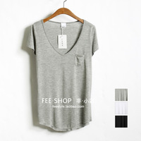 Freeshipping 2013 Fashion basic thin cotton v small pocket black and white ash short-sleeve T-shirt