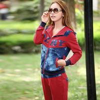 Spring and autumn cotton denim color block decoration sportswear long sleeve length pants casual sports set women's