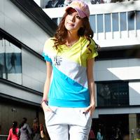 free shipping Sportswear fashion color block decoration women's short-sleeve capris sports set cotton breathable Women 100%